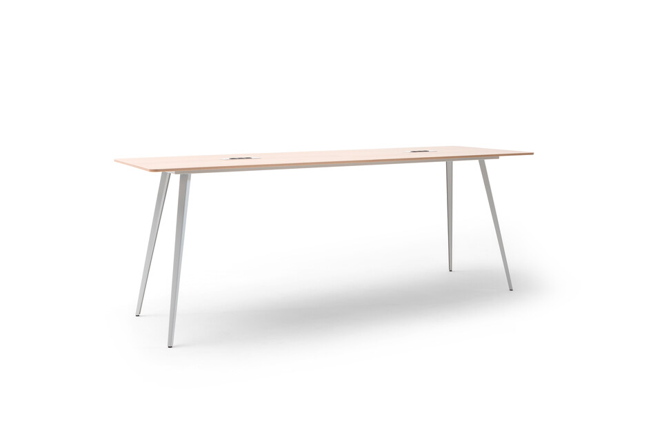 Gispen TEAM Classic narrow high conference table with grey legs and frame with birch tabletop and 2 Cubbys front left view