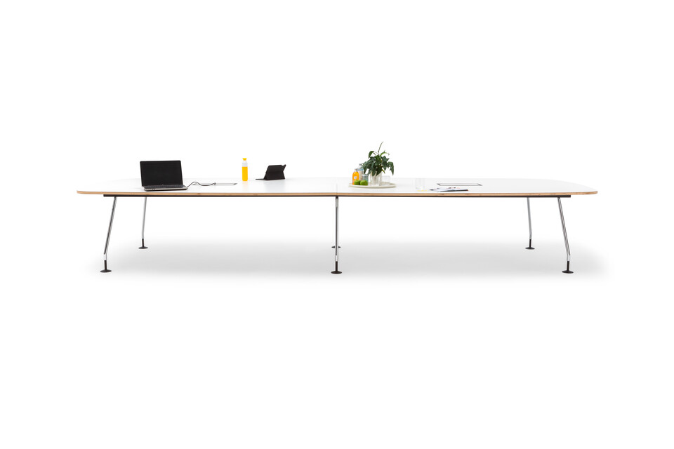 Gispen TEAM Project conference table with chrome legs and black frame with white tabletop styled front view