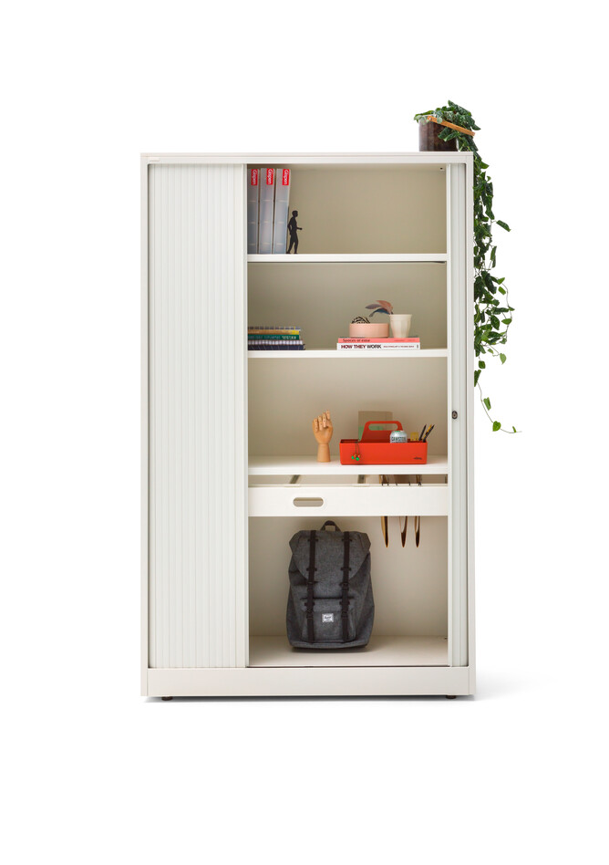 Gispen Meta tambour cabinet in white open with styling front view