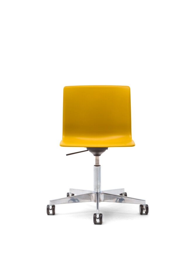 Gispen Nomi Work Plus chair with polished frame and yellow shell front view
