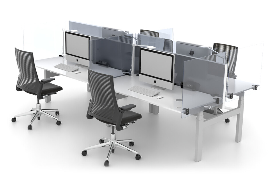 Royal Ahrend Balance quatro desks in grey with Ahrend Clear transpartent screens and 2020 Extra Verta office chairs front left view