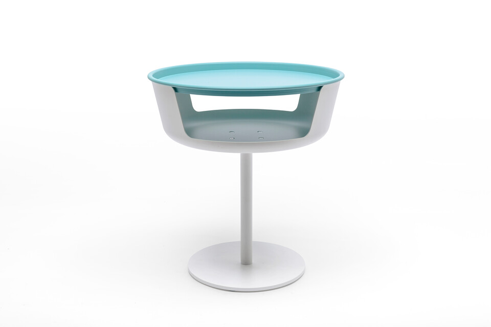 Gispen Asy sidetable white with lightblue tray front view