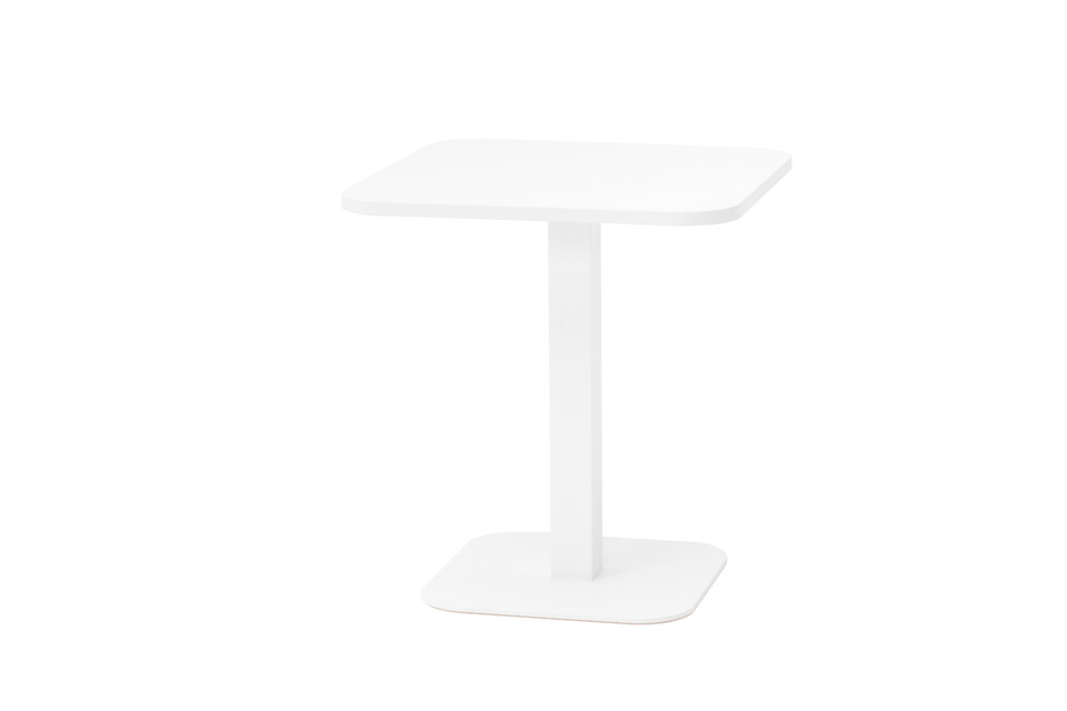 Gispen KOLM Column square conference table with white frame and white rounded square 80 tabletop front right view