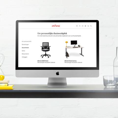 Royal Ahrend thuiswerk webshop beeldscherm op balance bureau