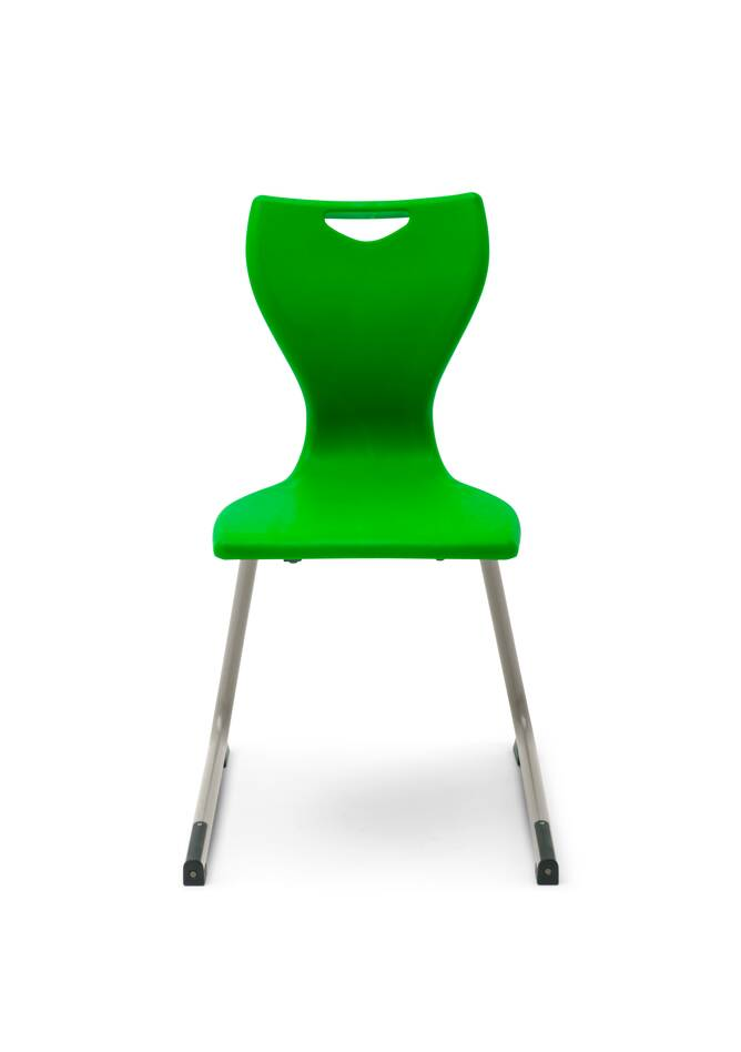 Gispen Eduu Comfort chair with green frame and shell front view