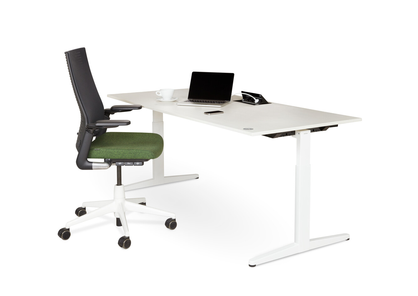 Royal Ahrend Balance workstation in white with grey maple worktop with black and green 2020 office chair front right view