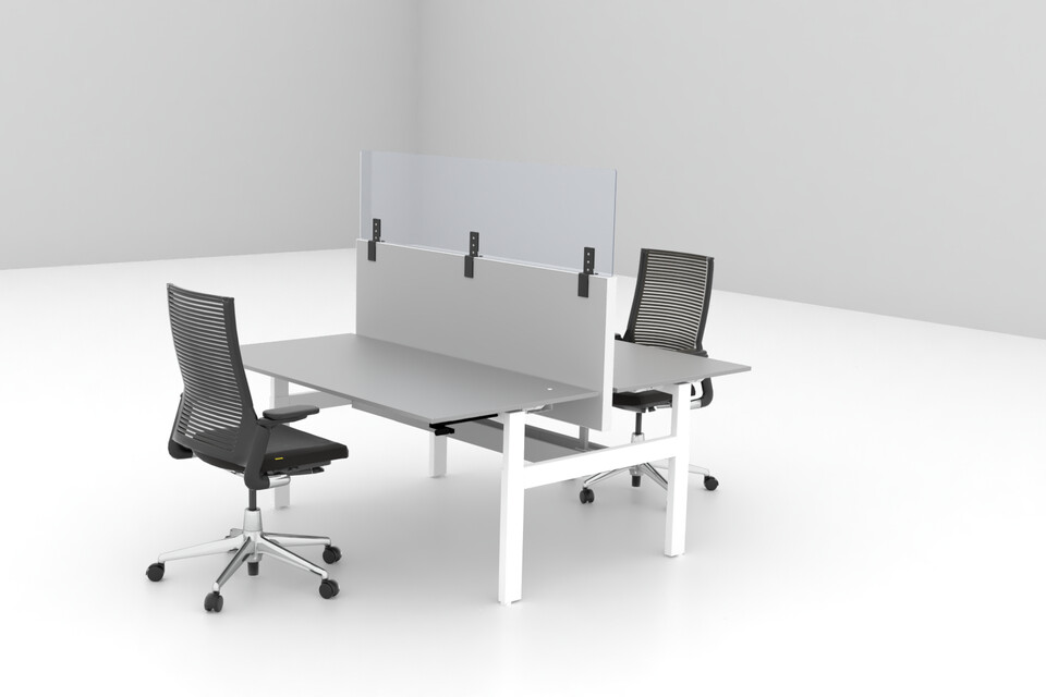 Royal Ahrend Balance dual desk in white with Ahrend Clear transpartent screen on S50 and 2020 Extra Verta office chairs front right view