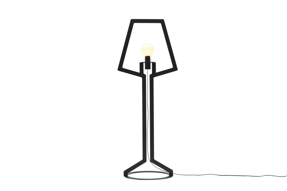 Gispen Outline floorlamp with light on in black front view