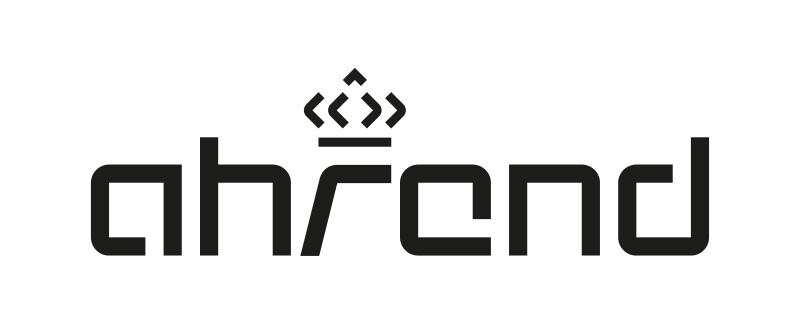 Ahrend Logo in black letter digital print