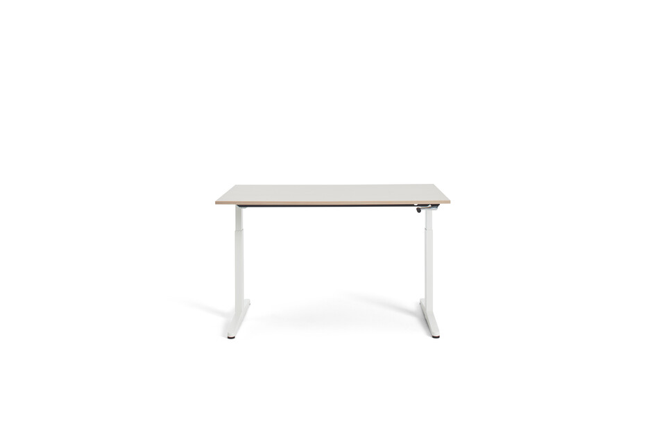 Gispen Home office HVM desk in white with oak tabletop front view