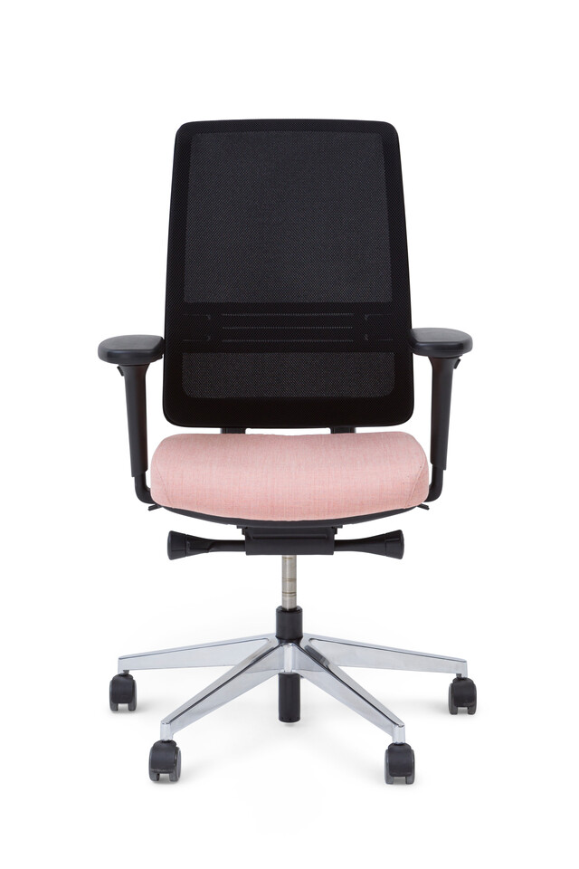 Royal Ahrend Ease office chair with seat upholstered in pink and back in black front view