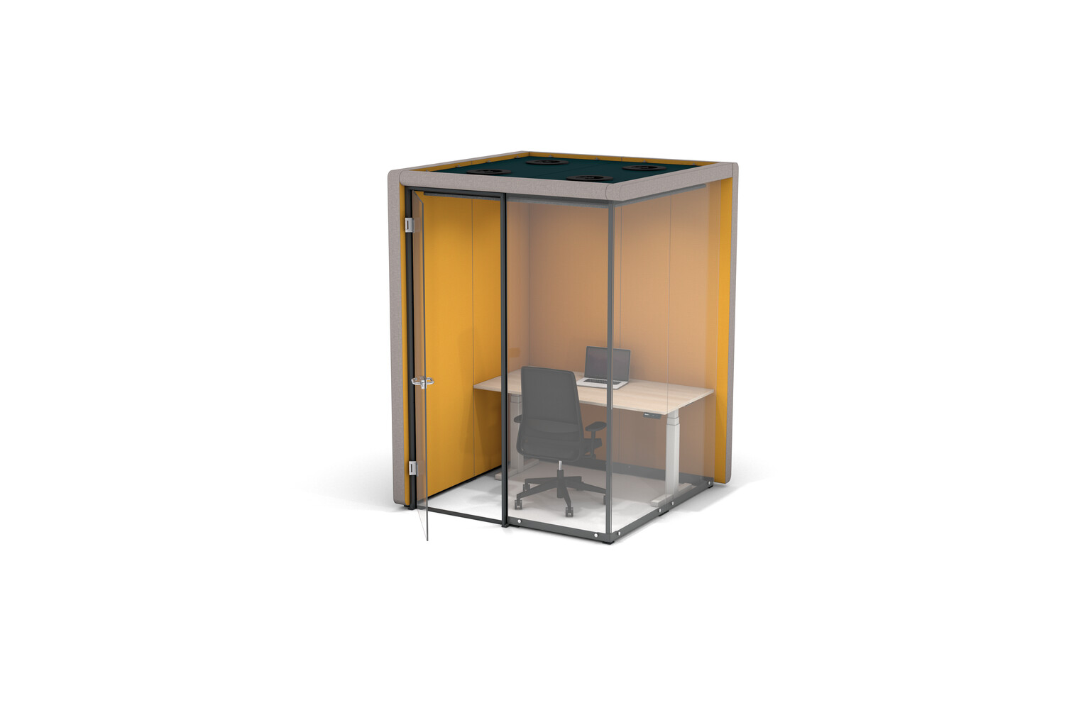 Gispen MOXX space in space 2 by 2 panels upholstered in grey and yellow with swivel door and white TMNL desk and Zinn office chair front right view