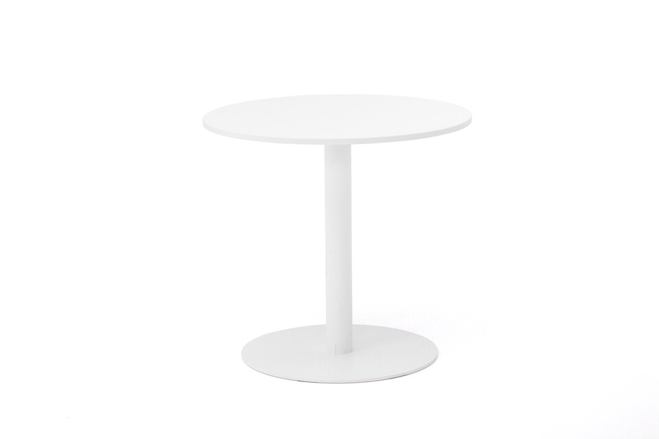 Gispen KOLM Column round conference table with white frame and white round 80 tabletop front view