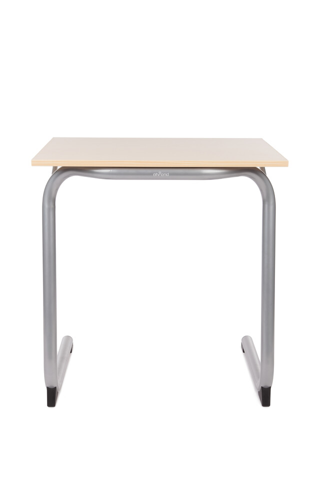 Royal Ahrend 450 educational table in metallic aluminium with oak tabletop rear view