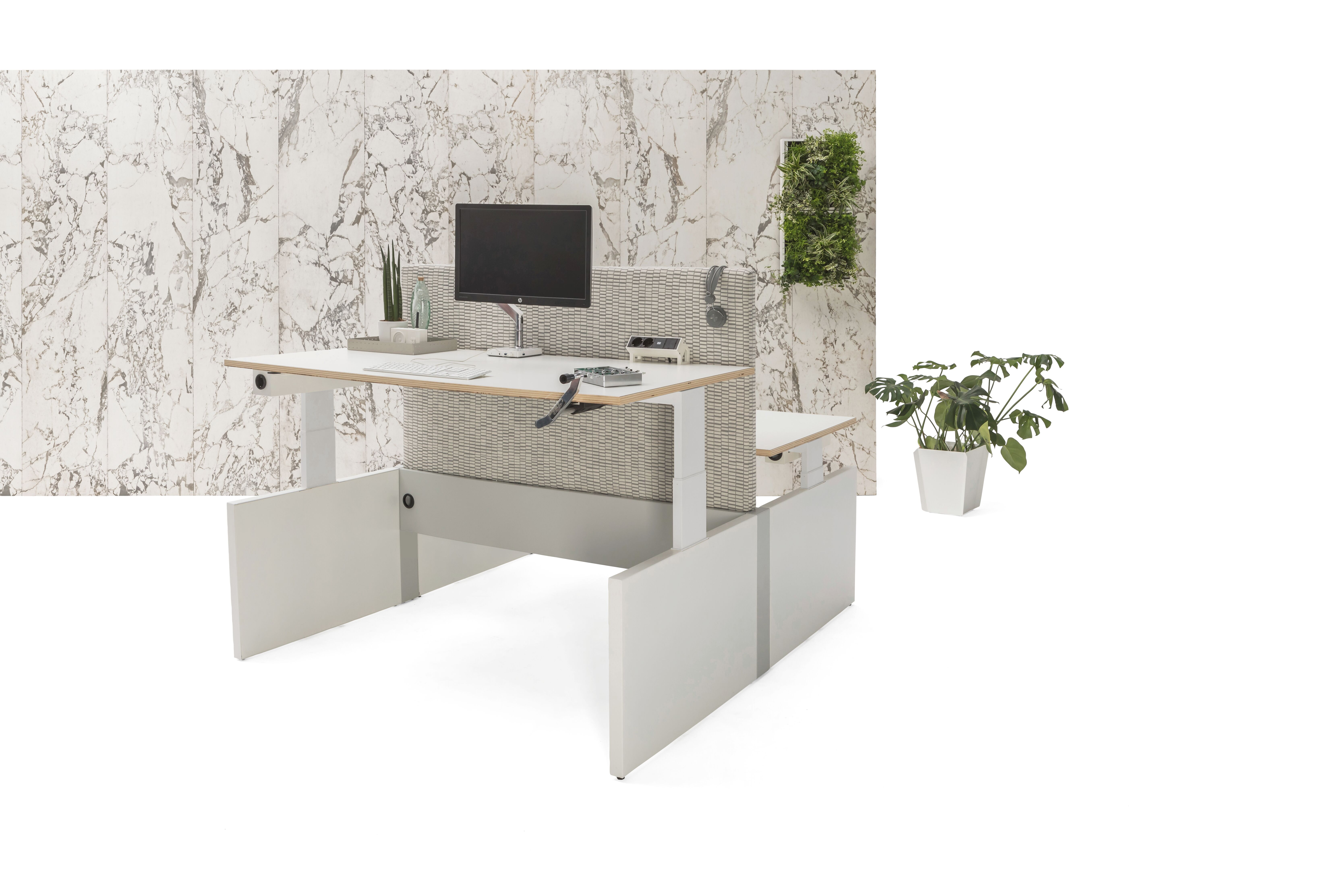 Gispen Cimo dual table with white frame and mono linkable panel legs with white chipboard tabletops and front one in position 115 and grey upholstered screen straight thick and white marble patern backpanel front right view
