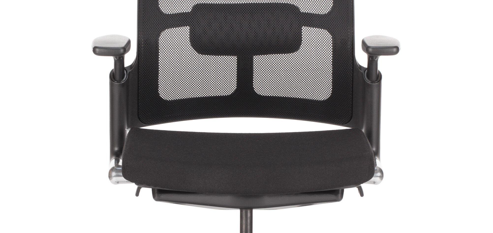 Royal Ahrend 2020 Verta work chair upholstered in black at lowest point front view