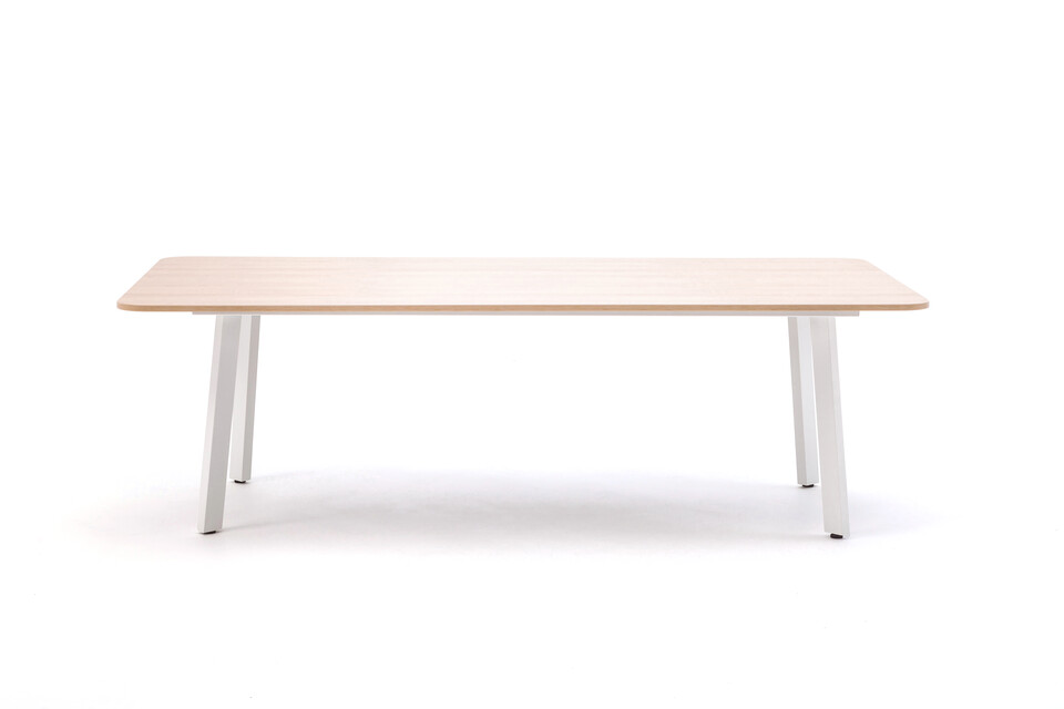 Gispen TEAM Classic conference table with white frame and oak tabletop front view