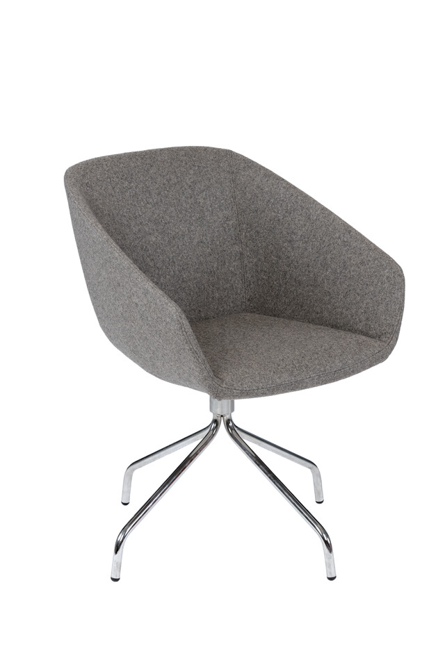 Royal Ahrend Hesta P10 armchair upholstered in grey front left view