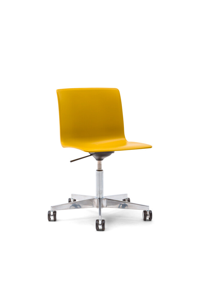 Gispen Nomi Work Plus chair with polished frame and yellow shell front left view