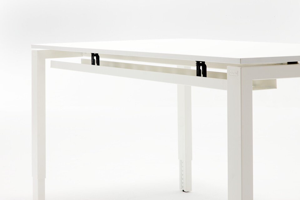 Gispen IC workstation with white frame and white tabletop with cabletray up left rear detail view