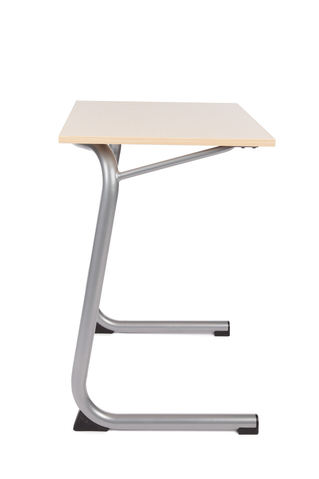 Royal Ahrend 450 educational table in metallic aluminium with oak tabletop left side view