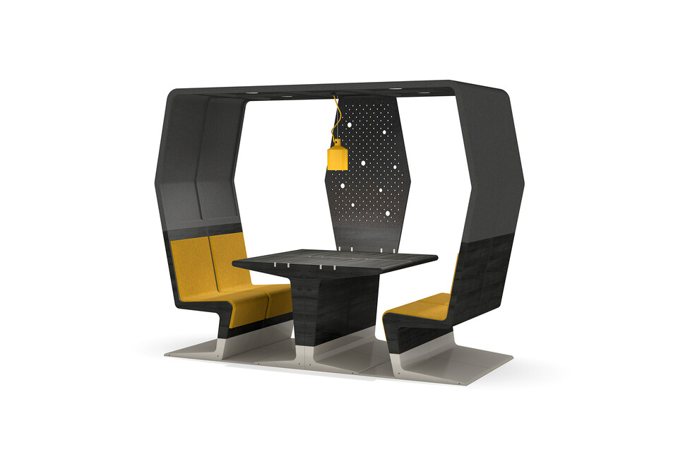 Gispen HUBB in black stain and grey conference configuration with privacy screen on one side with yellow seat upholstery right rear view