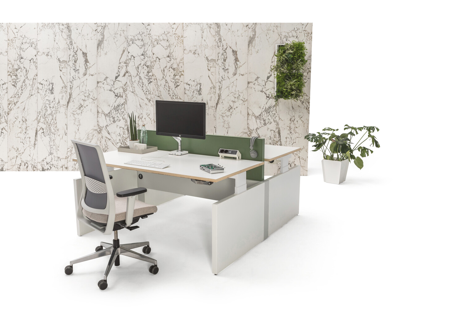 Gispen Cimo dual table with white frame and mono linkable panel legs with white chipboard tabletops and green steel screen perforated with grey Zinn office chair  front right view