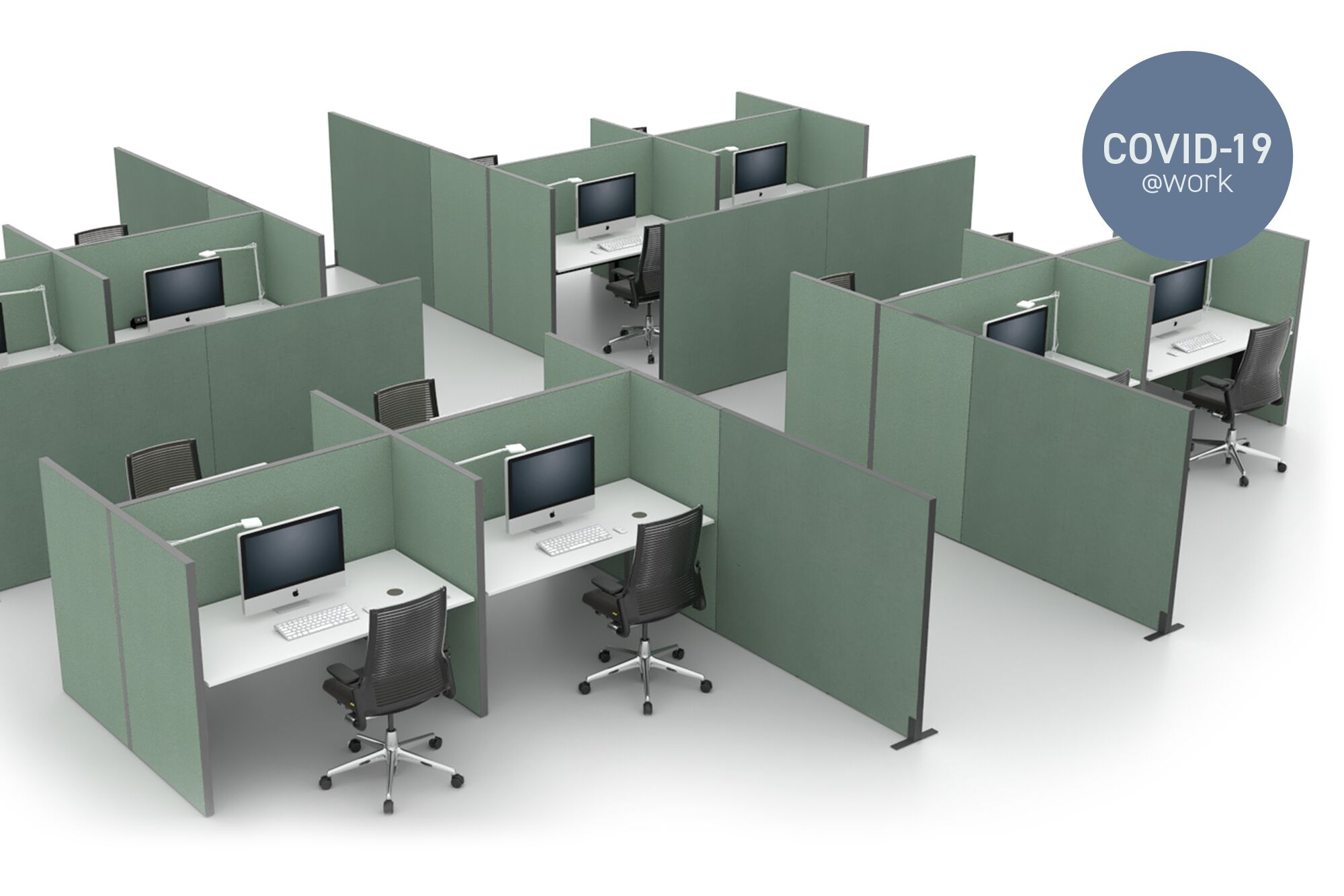 Royal Ahrend Balance dual and single desk with green upholstered S50 screens front left view with Covid 19 label