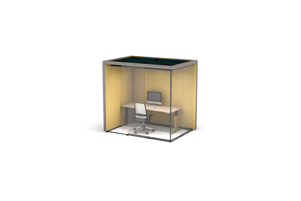 Gispen MOXX space in space 2 by 3 panels upholstered in grey and yellow with sliding door and CIMO workstation and Zinn office chair front right view