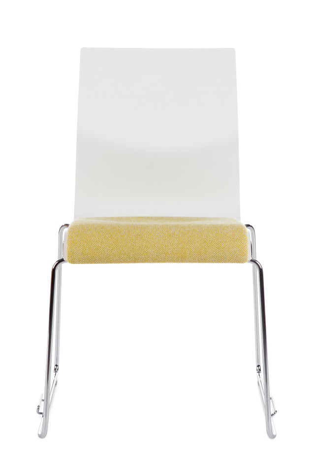 Royal Ahrend 370 wireframe chair with chrome legs and shell in white with seat upholstered in yellow front view