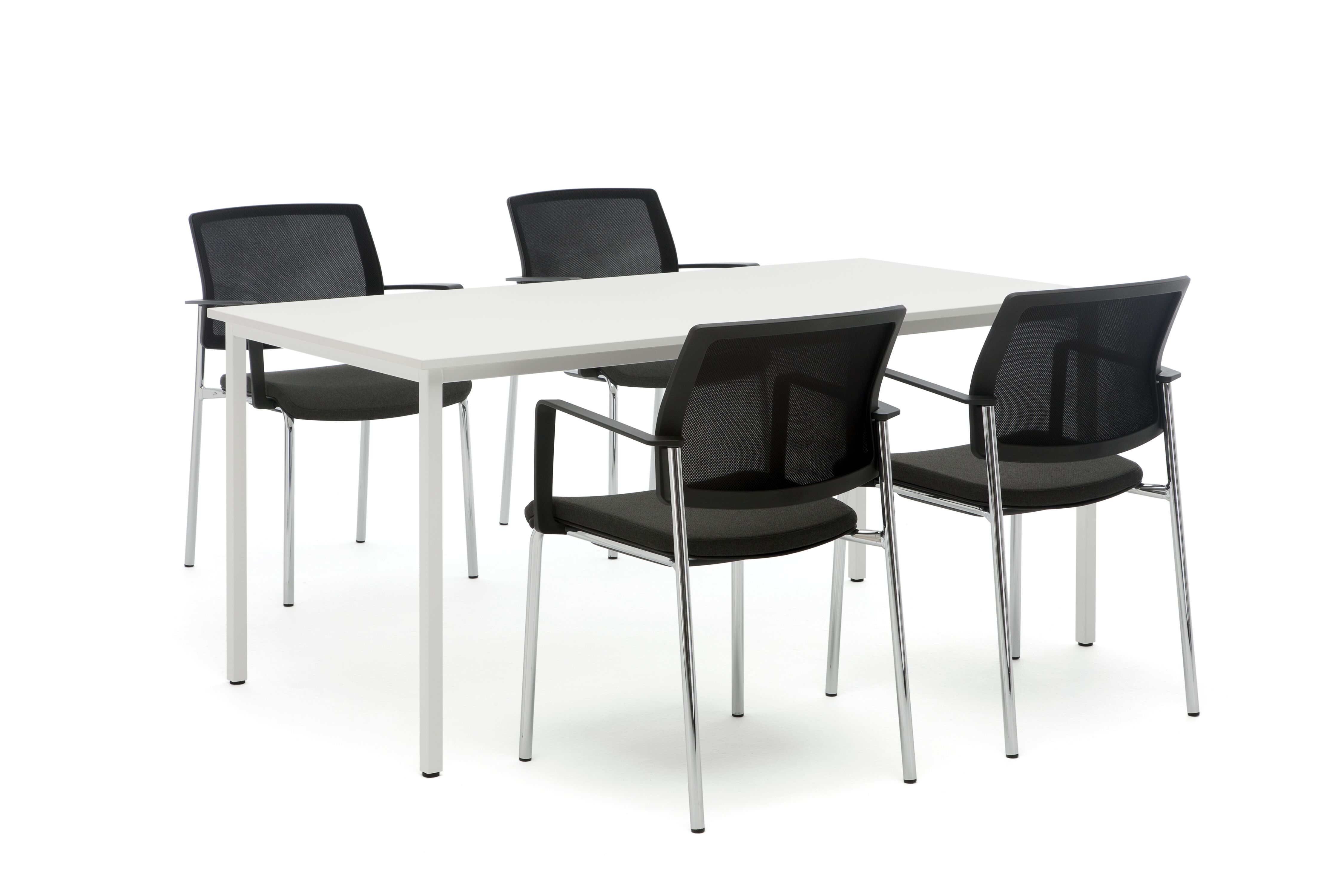 Gispen UT table with white frame and tabletop with 4 black Zinn 4 legged visitors chairs front left view