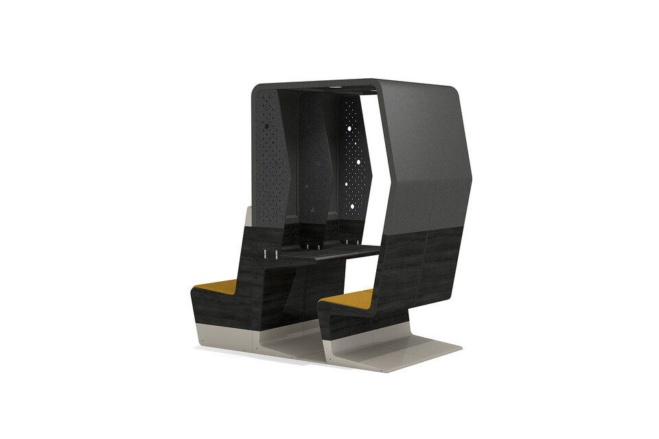 Gispen HUBB in black stain and grey small dual configuration with focused working zone with a bench with yellow seat upholstery right rear view