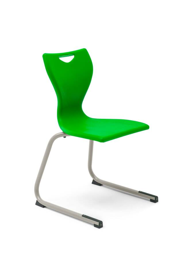 Gispen Eduu Comfort chair with green frame and shell front left view