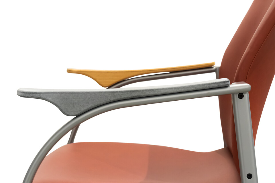 Kembo Kion chair upholstered in orange revitalised with 3D printed armrest right side detail view