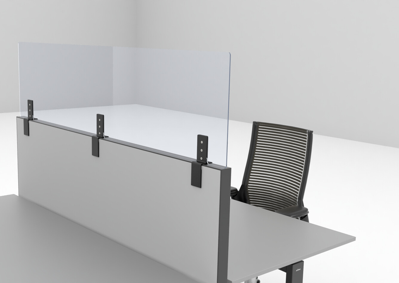 Royal Ahrend Balance dual desk in black with Ahrend Clear transpartent screen on S50 and 2020 Extra Verta office chair front right detail view