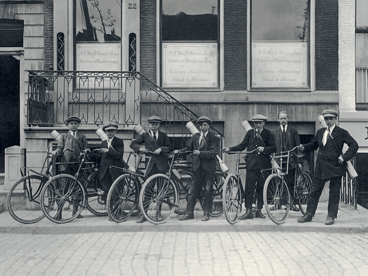 Ahrend buidling in Amsterdam with company bicycles in front