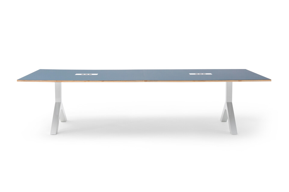 Gispen TEAM Design conference table with white legs and frame with blue tabletop front view