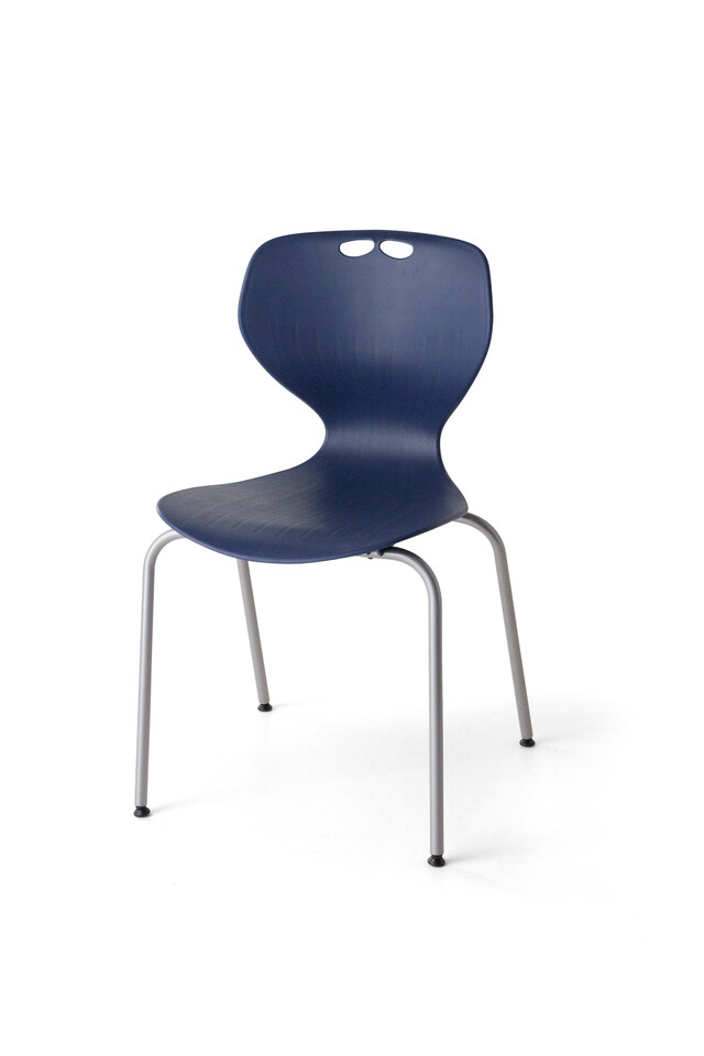 Royal Ahrend 450 4K educational chair with blue shell and grey base front right view