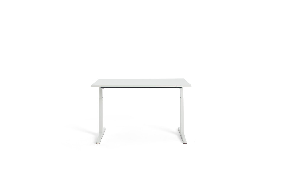 Gispen Home office HI desk in white with white tabletop rear view