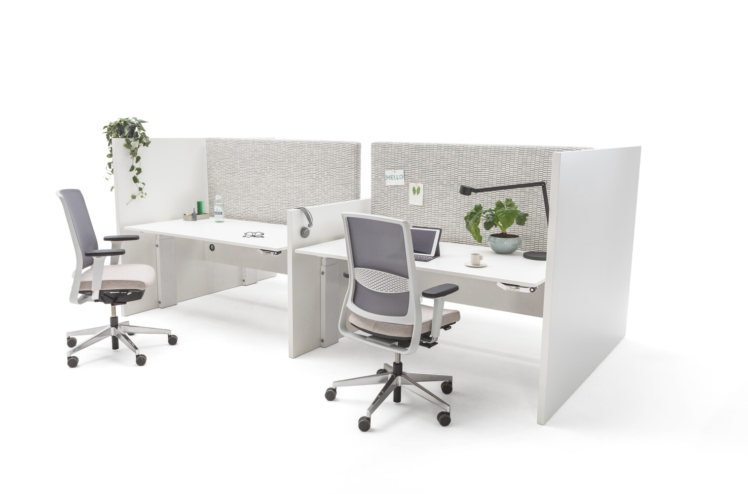 Gispen Cimo dual tables 4 pack with white frame with wooden panel walls with white chipboard tabletops and grey upholstered screens straight thick with 2 grey Zinn office chairs front right view
