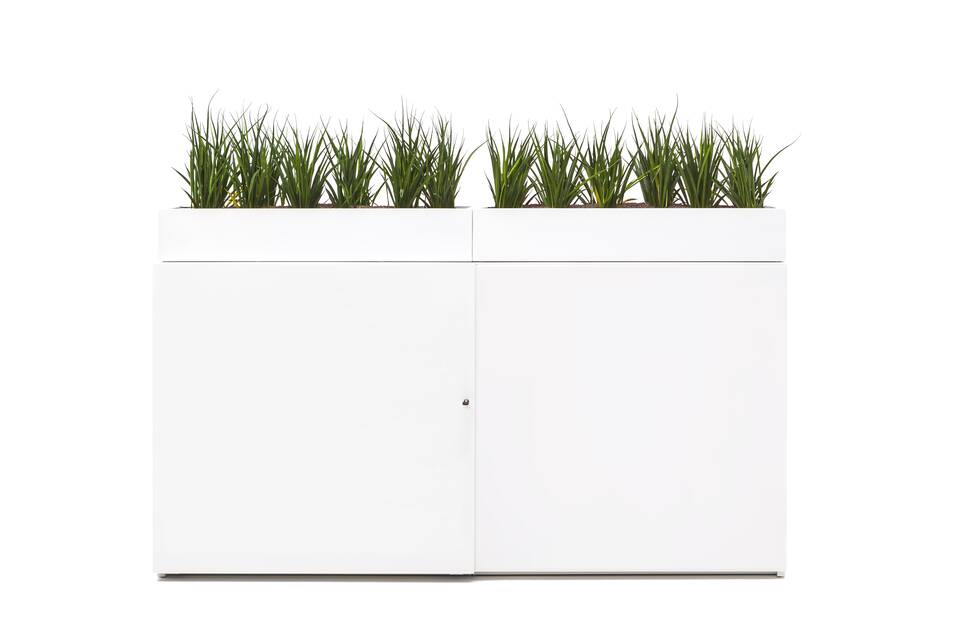Gispen SDK sliding door cabinet in white with round perforated doors with planters front view