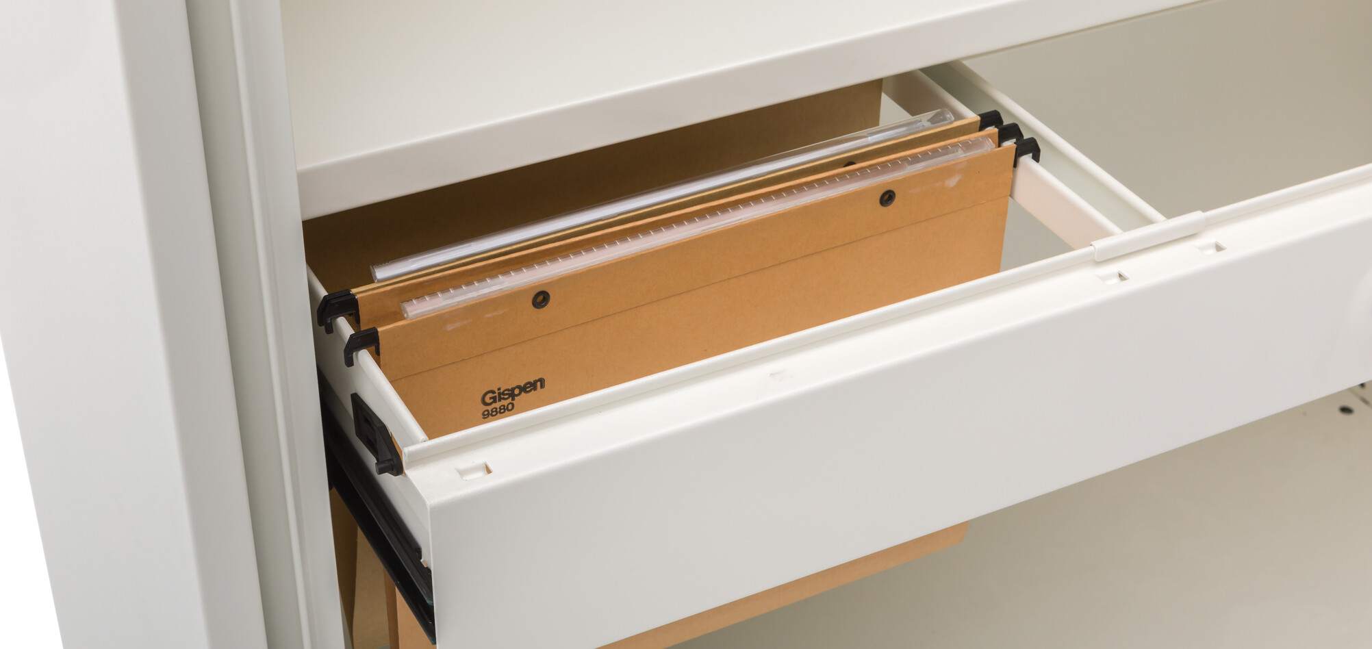 Gispen Meta tambour cabinet in white open with rectractable frame detail view