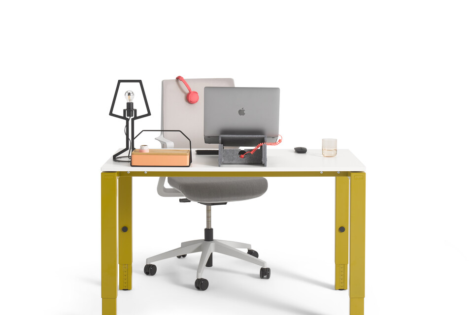 Gispen IC workstation in yellow with white tabletop and grey upholstered Zinn Multi chair with styling rear view