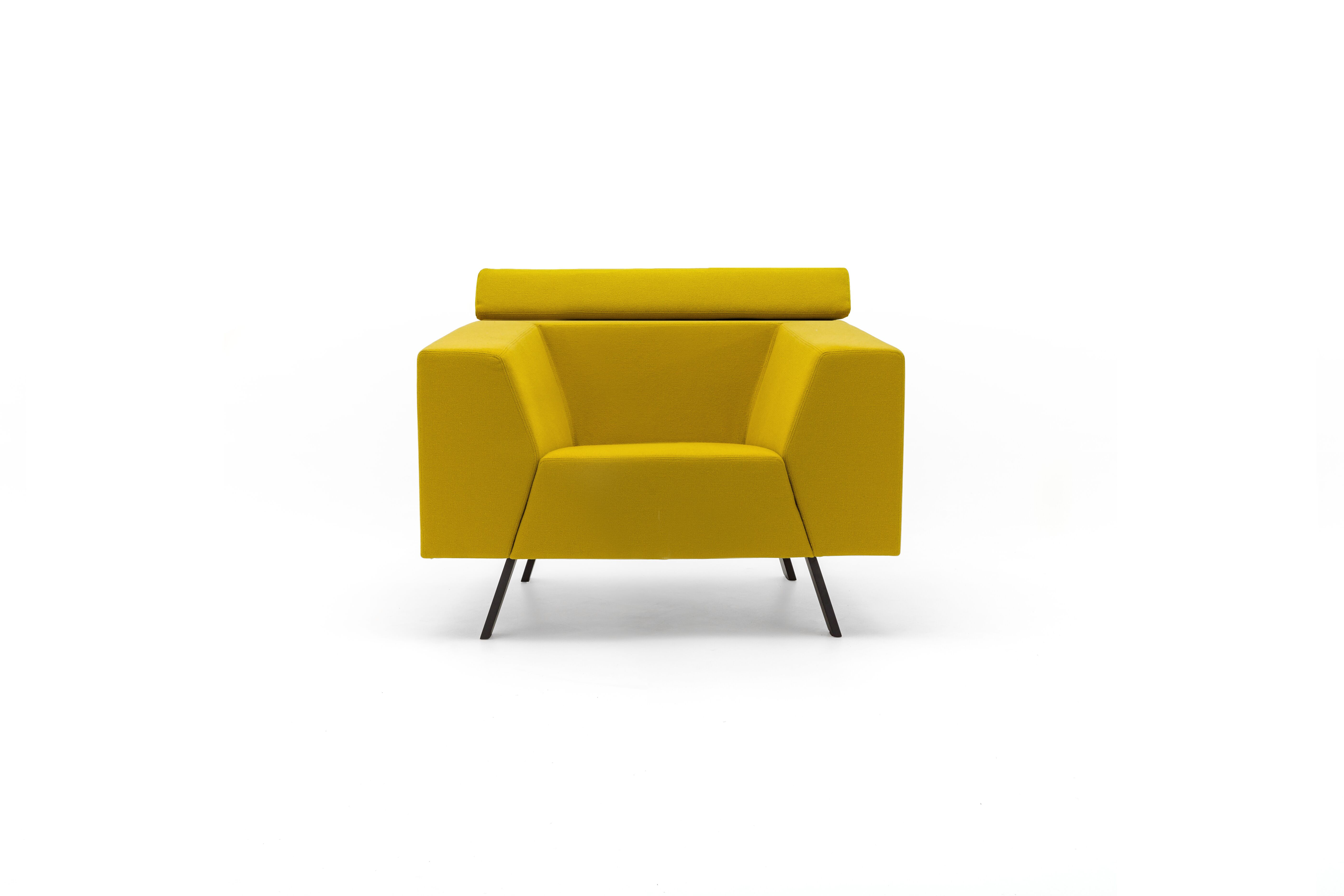 Gispen Sett high armchair in hallingdal 457 yellow front view