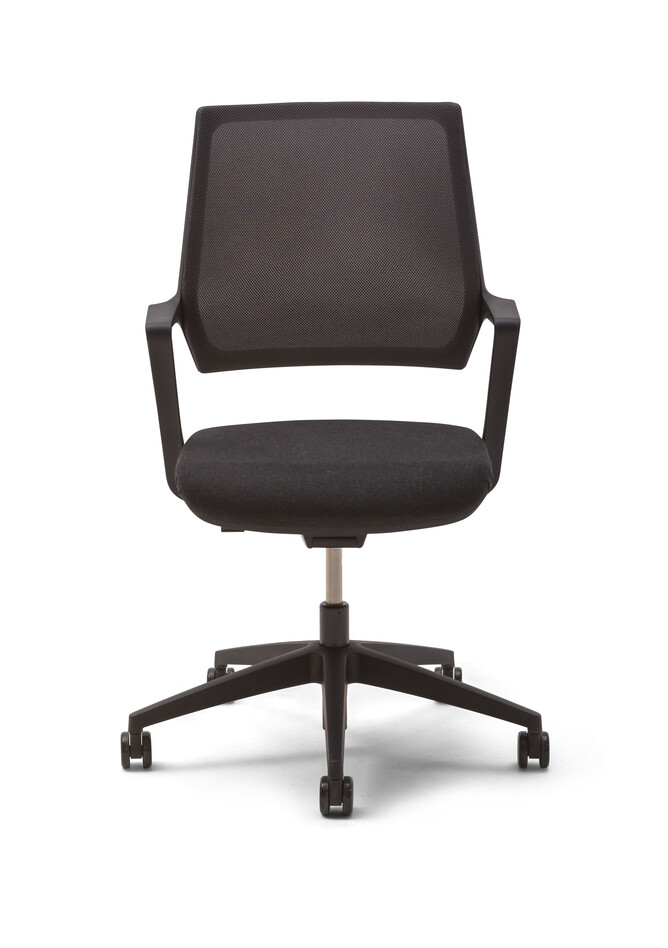 Gispen Zinn Multi task chair with black frame and upholstered in black front view