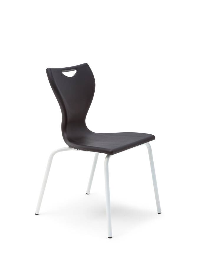 Gispen EDUU Slim Classic chair with white frame and black shell front left view
