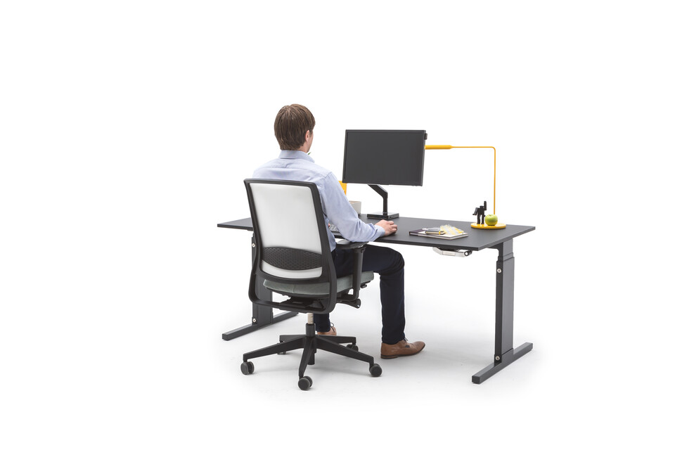Gispen Cimo mono table with black frame and tabletop with Zinn office chair animation still step 071 front right view