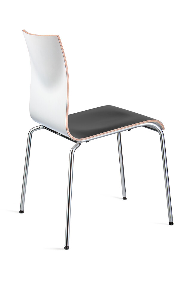 Royal Ahrend 370 four leg chair with chrome legs and shell in beech with seat upholstered in black left rear view
