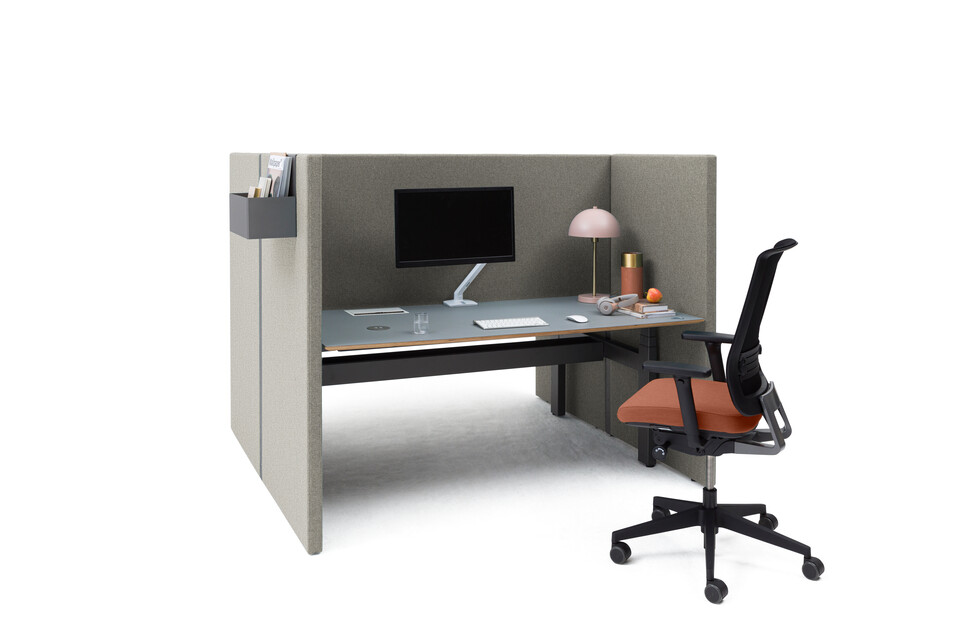 Royal Ahrend Retreat Acoustic screen for dual workstation with grey frame and upholstered in beige with black Balance dual desk and Ease office chair styled front left view