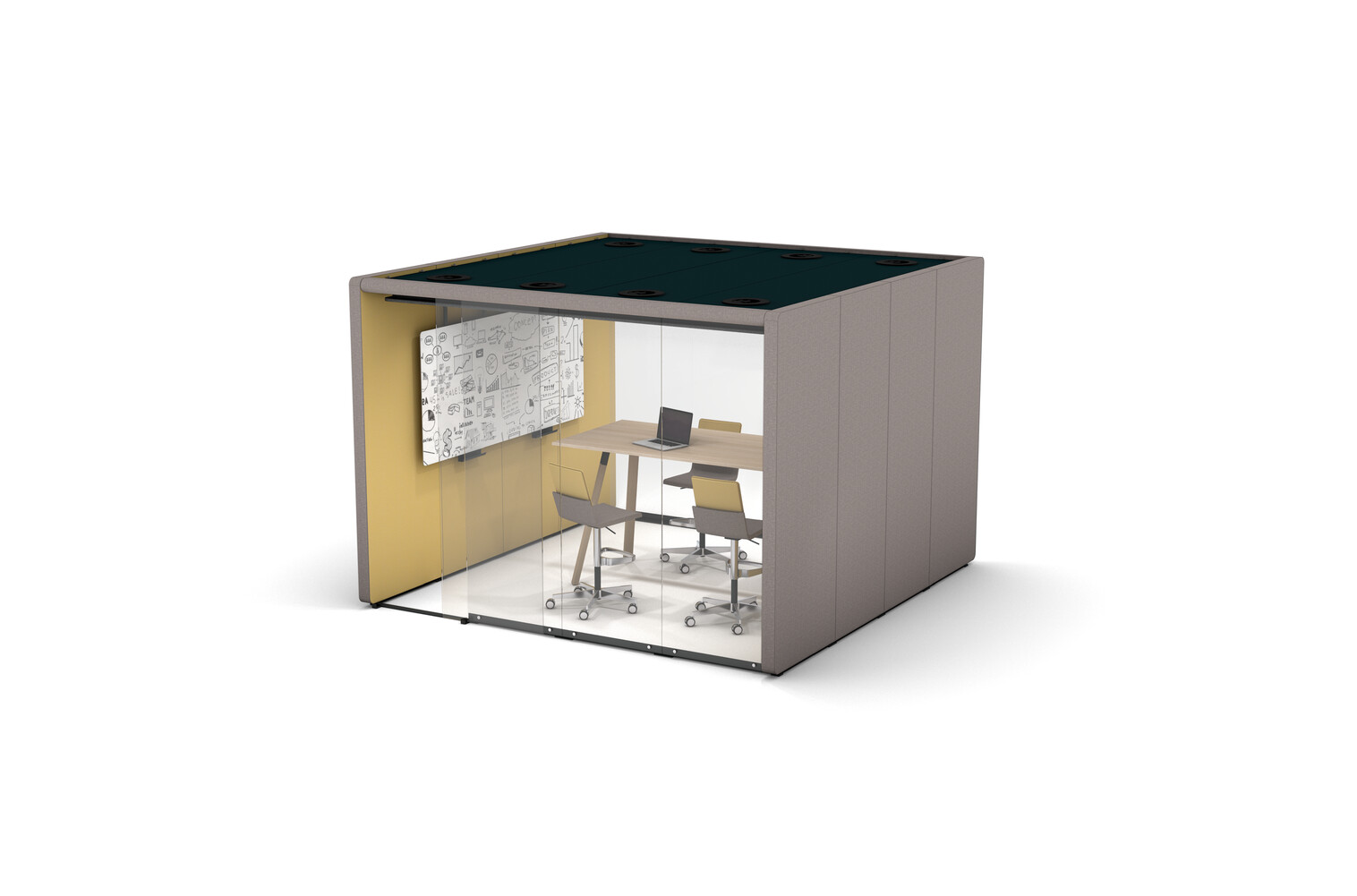 Gispen MOXX space in space 4 by 4 panels upholstered in grey and yellow with sliding door and Team Wood rectangle high table and Triennial Work high chair front right view